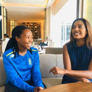 gsport Editor Kass Naidoo interviews Proteas Women bowler Tumi Sekhukhune in Surat, India. Photo: Kass Naidoo