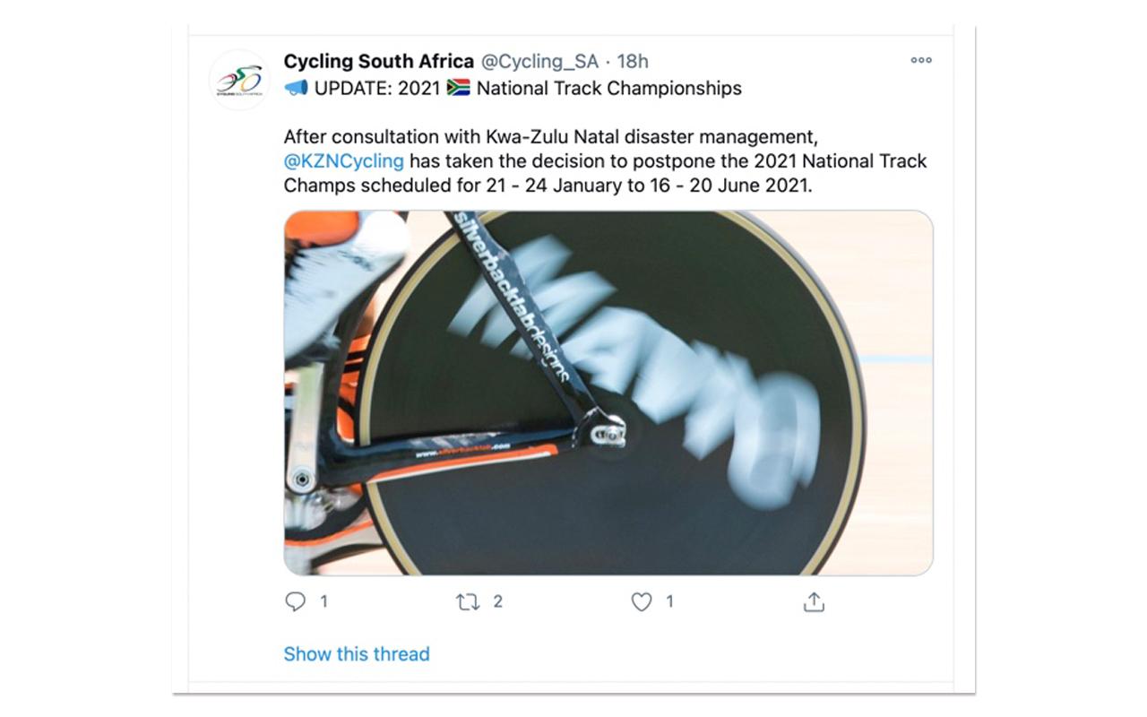 Screengrab of Cycling SA's update on Twitter. Photo: Social Media Screengrab