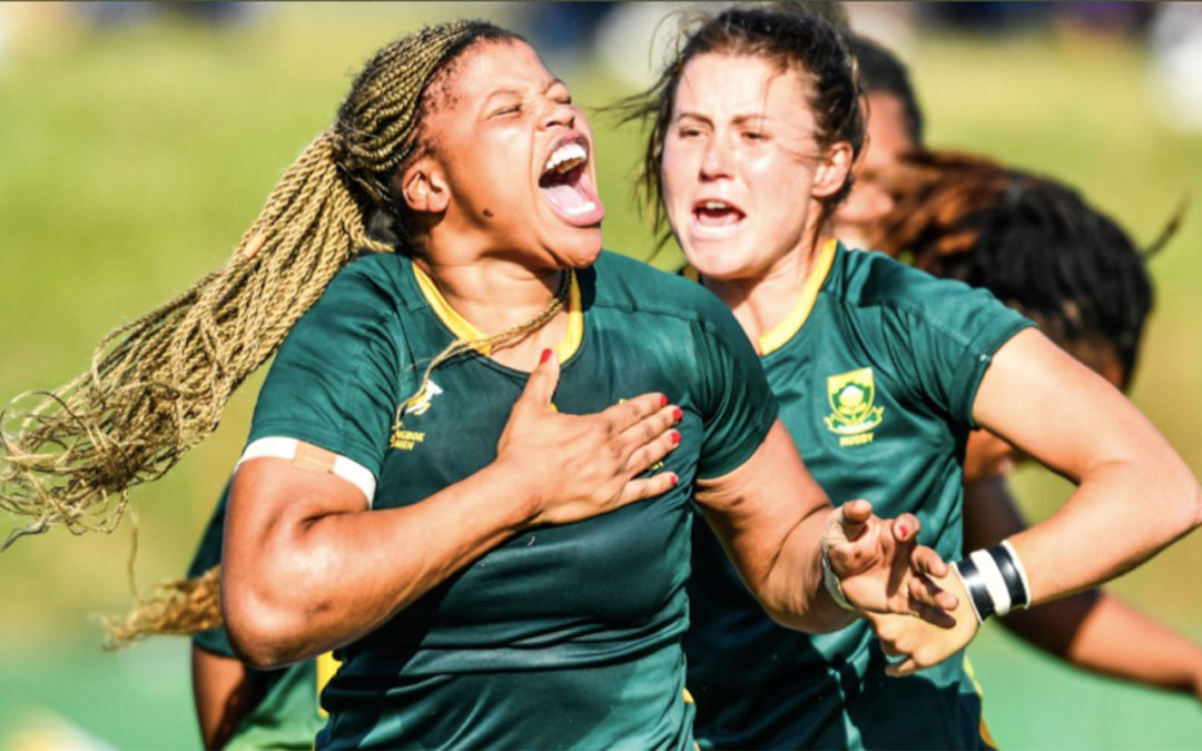 Springbok Women's No 8, Aseza Hele, pictured in celebratory mood while in action for the national women's rugby team. Photo: Springbok Women (Twitter)
