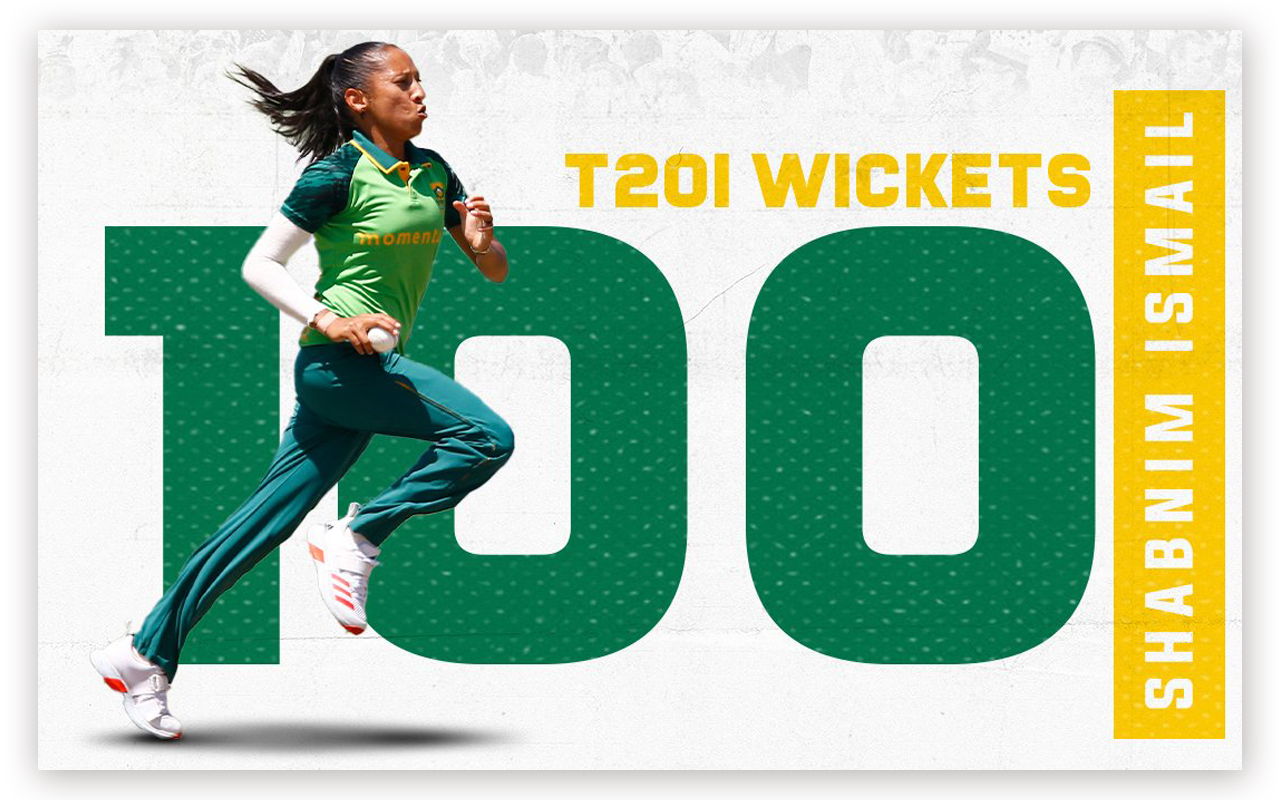 Shabnim Ismail became the first South African, and the fourth international, to claim 100 T20 International wickets, as the Momentum Proteas pace bowler joined her team for an emphatic 8-wicket win over Pakistan in the first of three matches scheduled at the Hollywoodbets Kingsmead Stadium in Durban. Imager: Cricket SA