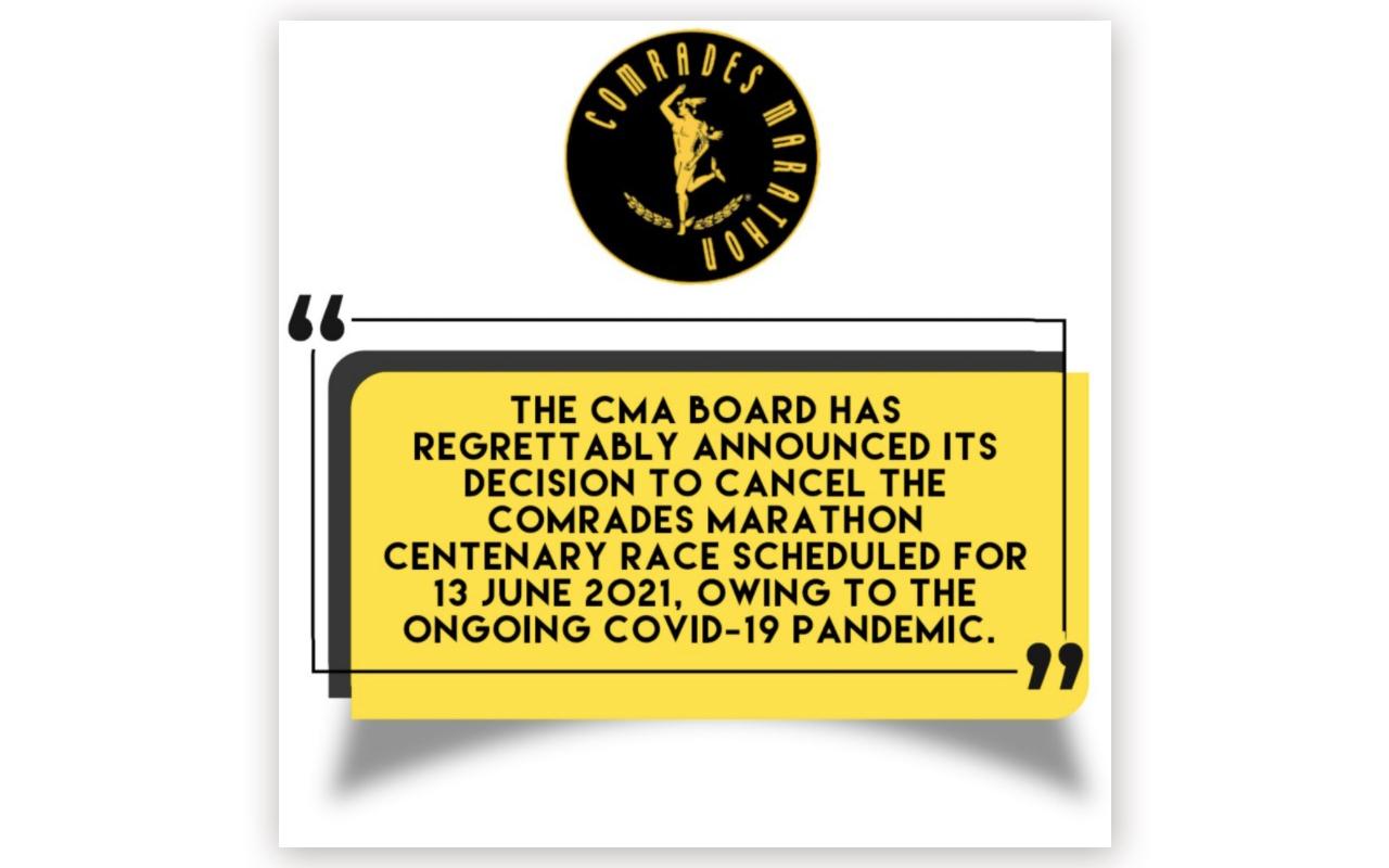 The Comrades Marathon Association (CMA) Board has regrettably announced its decision to cancel the Comrades Marathon scheduled for 13 June 2021, but will take place virtually. Photo: CSA