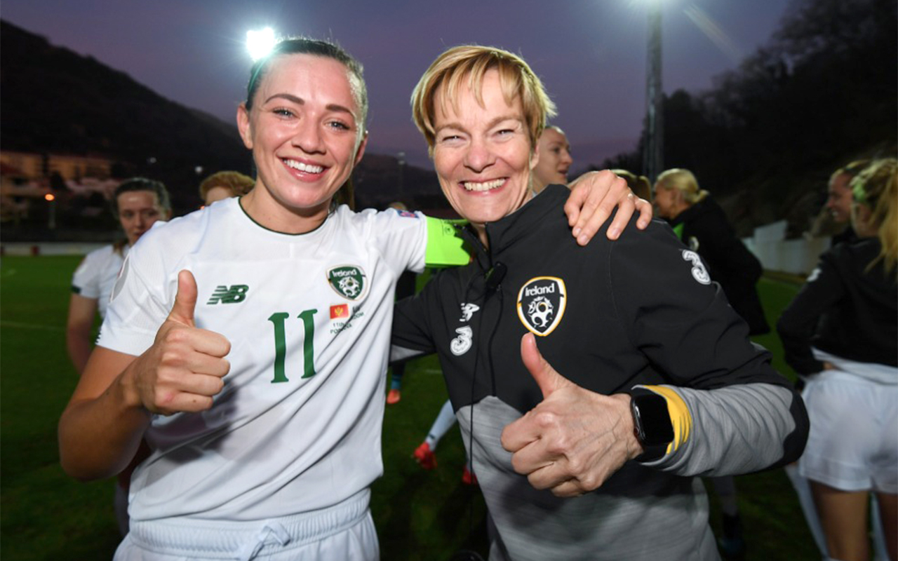 Former Netherlands international Vera Pauw (right) has extended her contract as Ireland senior women's team manager, and aims to guide her side to a major final. Photo: FAIreland (Twitter)