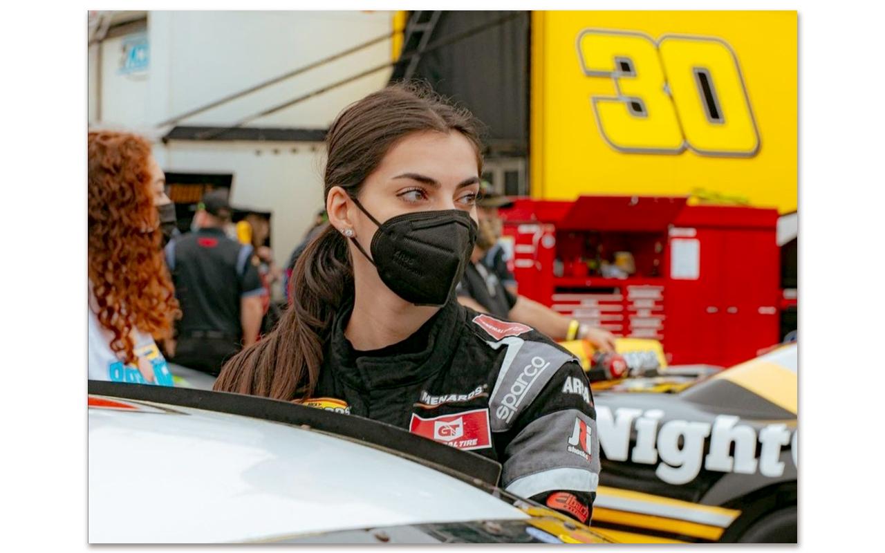 Toni Breidinger pictured on the race track at the 2021 ARCA season-opener at Daytona International Speedway on Saturday, 13 February. Photo: Toni Breidinger (Instagram)