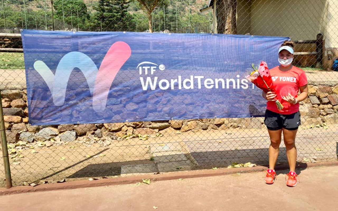 Suzanie Pretorius upsets No.1 seed, Elizaveta Shebekina, to win her first ever ITF title. Photo: Suzanie Pretorius (Supplied)
