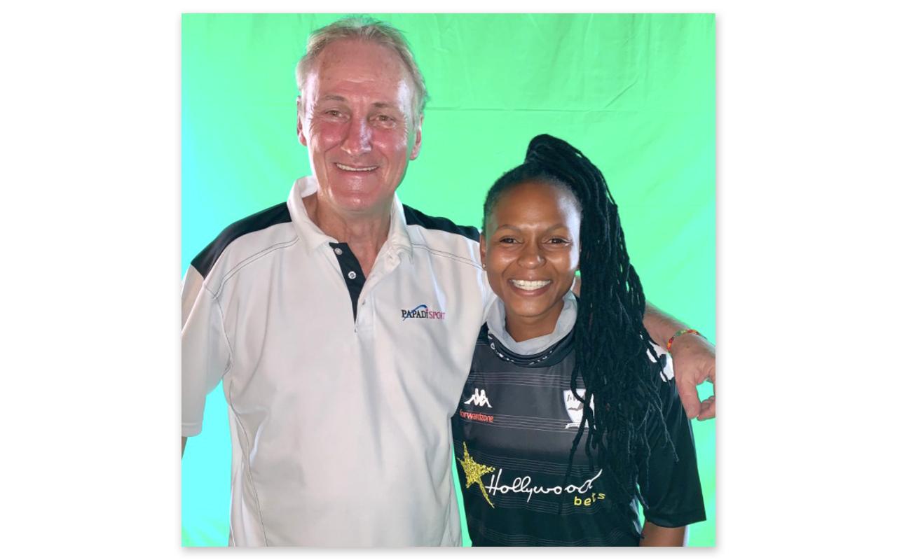 Makarapa International Pty Ltd t/a Papadi Marketing owner, Grant Nicholls pictured with JVW Girls Football's Amanda Dlamini. Photo: Grant Nicholls (Twitter)