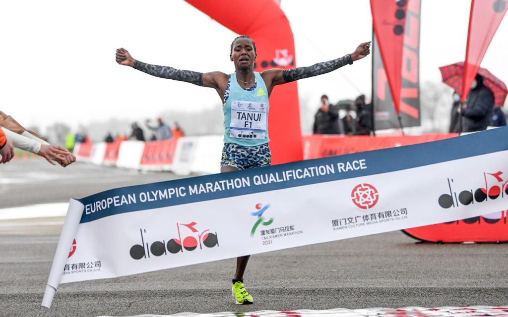 Kenya's Angela Jemesunde Tanui wins the European Olympic Marathon Qualification Race. Photo: Francesca Grana