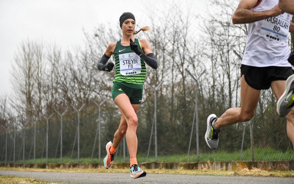 Comrades Marathon champ Gerda Steyn set a new national marathon record at the European Olympic Marathon Qualification Race at the Ampugnano Airport in Italy, on Sunday, 11 April 2021. Photo: Francesca Grana