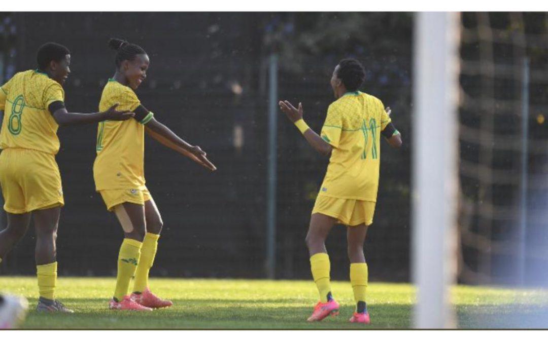 South African international footballer, Thembi Kgatlana (11), celebrating her goal against Botswana at the Wits University Stadium in Johannesburg on Tuesday, 13 April 2021. Photo: Banyana Banyana (Twitter)