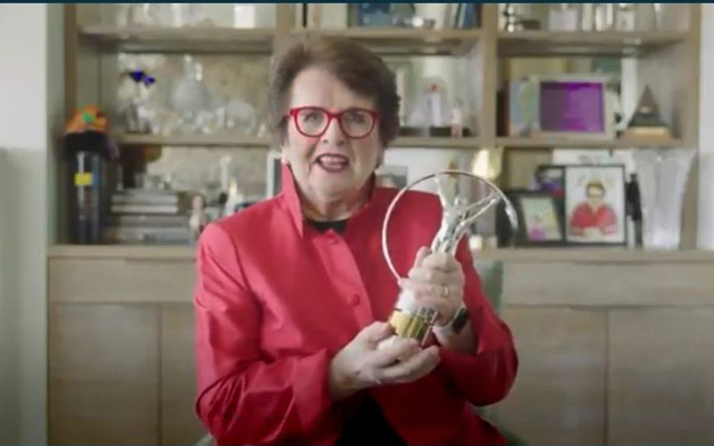 The legendary Billie Jean King – who founded the WTA in 1973 on the principle of equal opportunity after 129 singles titles during her playing career – says she is not done yet, after winning the Laureus Lifetime Achievement Award. Photo: Video Screengrab