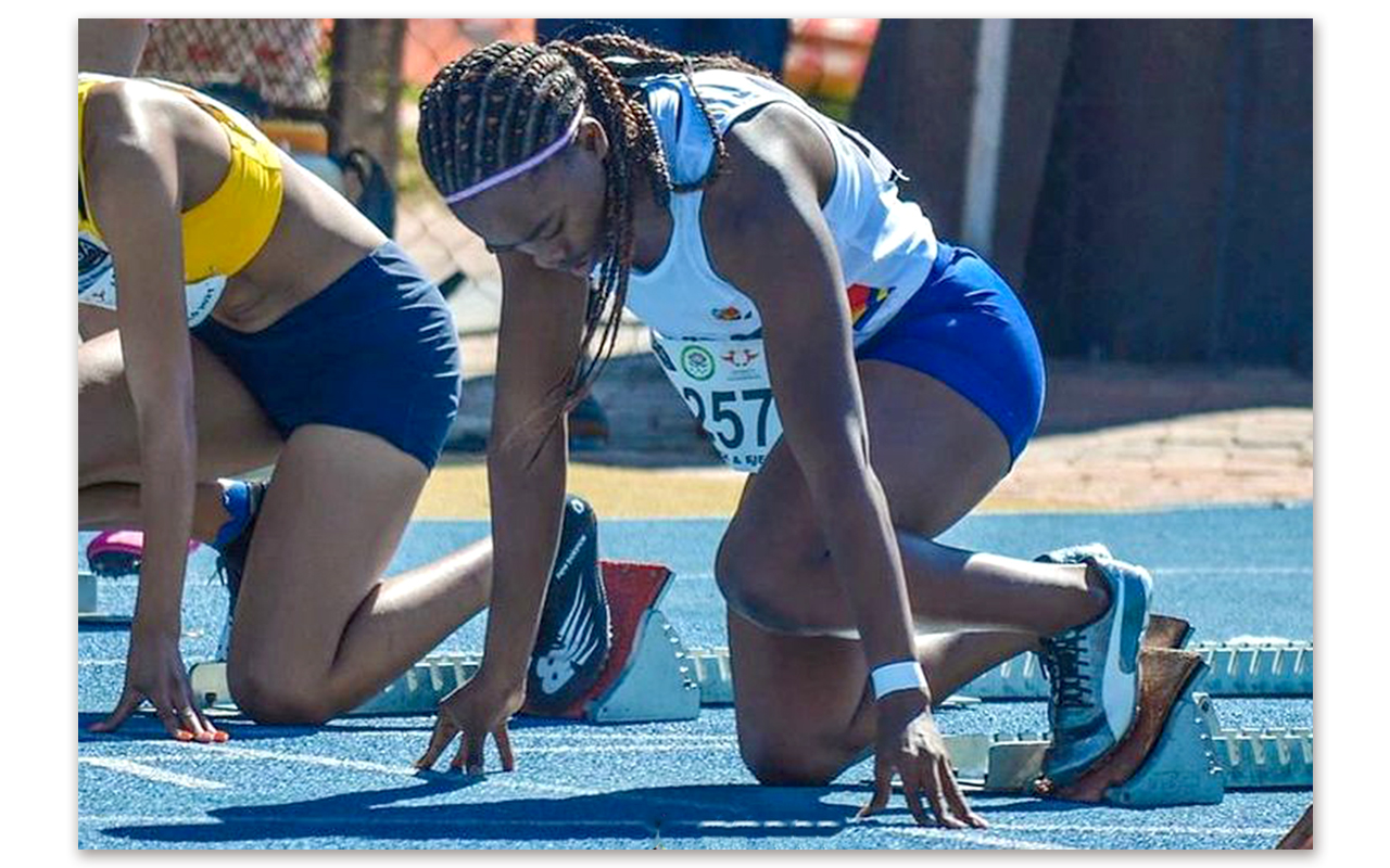 Phindile Kubheka scorched to the 100m print gold medal with a time of 11.68, finishing ahead of NWUEA's Nicola van der Merwe in second with 11.76 and Tuks team-mate Marizaan Loots in 11.78. Photo: Phindile Kubheka/Instagram