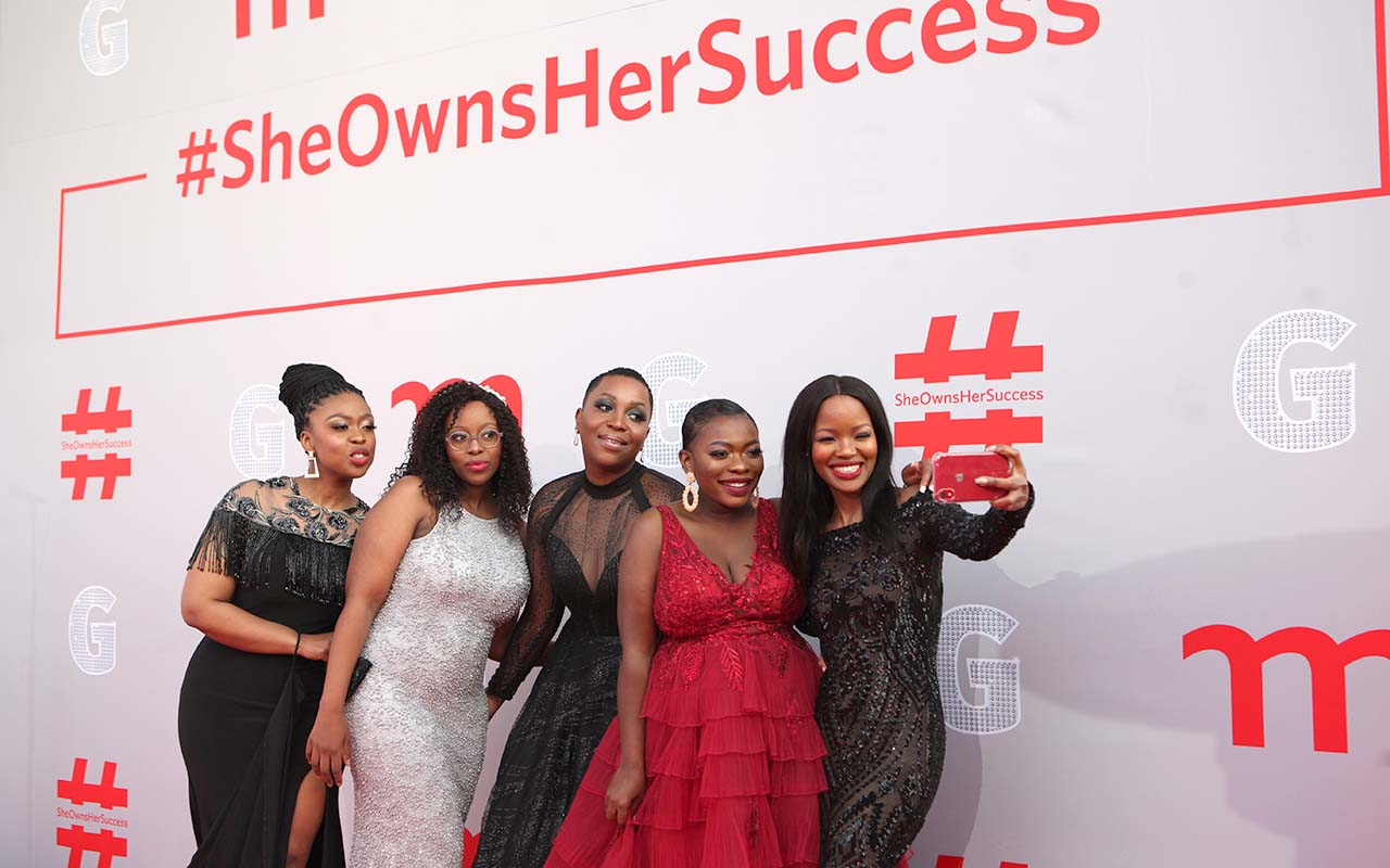 The 2020 Momentum gsport Awards presenter squad smiling on the red carpet, in Johannesburg on 31 August, 2020. Photo: gsport
