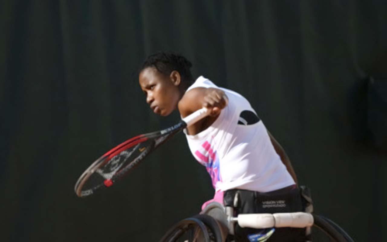 South Africa's wheelchair tennis history maker, Kgothatso Montjane, pictured at Wimbledon. Photo: Wimbledon (Facebook)
