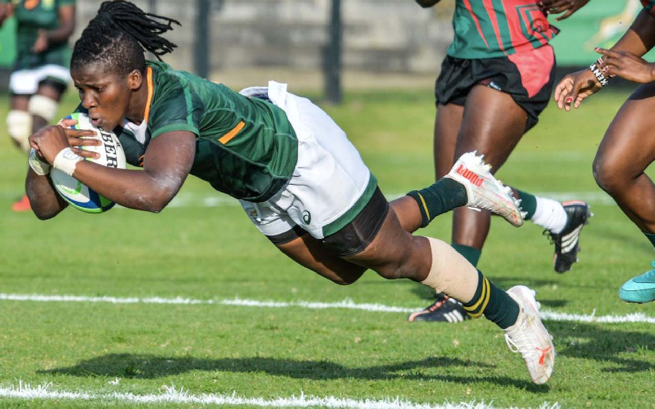 The Springbok Women leading 17-12 at the break, had to overcome a strong second half surge by Kenya and needed a late try by their captain, Lusanda Dumke (pictured) to beat the East Africans 29-22 for the Series win, at the Danie Craven Stadium in Stellenbosch on Monday, 16 August 2021. Photo: WomenBoks (Twitter)
