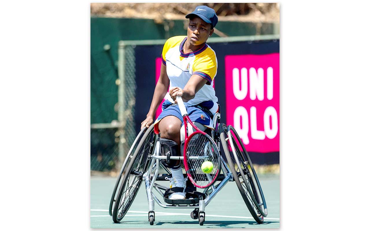 SA no.1 Wheelchair Tennis player Kgotahtso Montjane advanced through the SA Spring Open semi-finals against tournament no. 3, Mariska Venter after a clinical defeat of Mabel Mankgele. Photo: Tennis SA / Picture Café